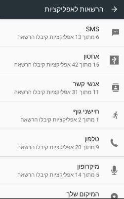 כאן אתם יכולים לראות את כל האפליקציות שיש להם גישה לתכונה מסוימת