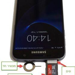 מגירת הסים נמצאת בחלק העליון של המכשיר. הסים נכנס ראשון ולאחריו כרטיס הזיכרון.